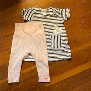 Striped dress & pink leggings bundle